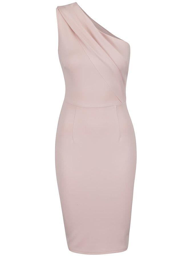 Světle růžové šaty na jedno rameno AX Paris