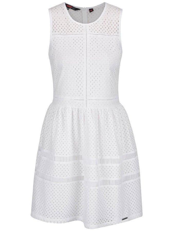 Rochie albă din dantelă Superdry fără mâneci