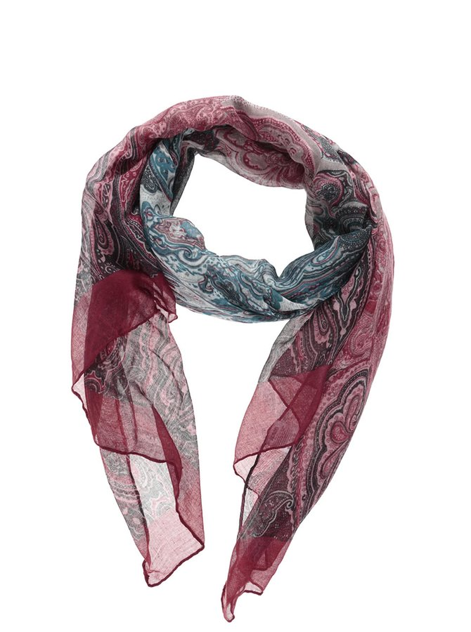 Petrolejovo-vínový vzorovaný šátek Haily´s Mia