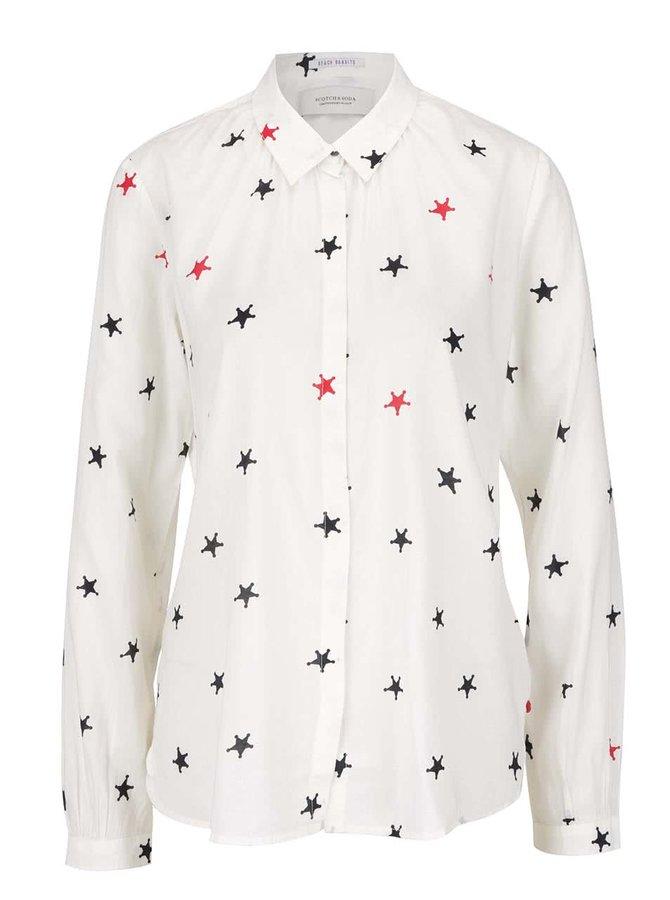 Krémová košile s potiskem hvězd Maison Scotch