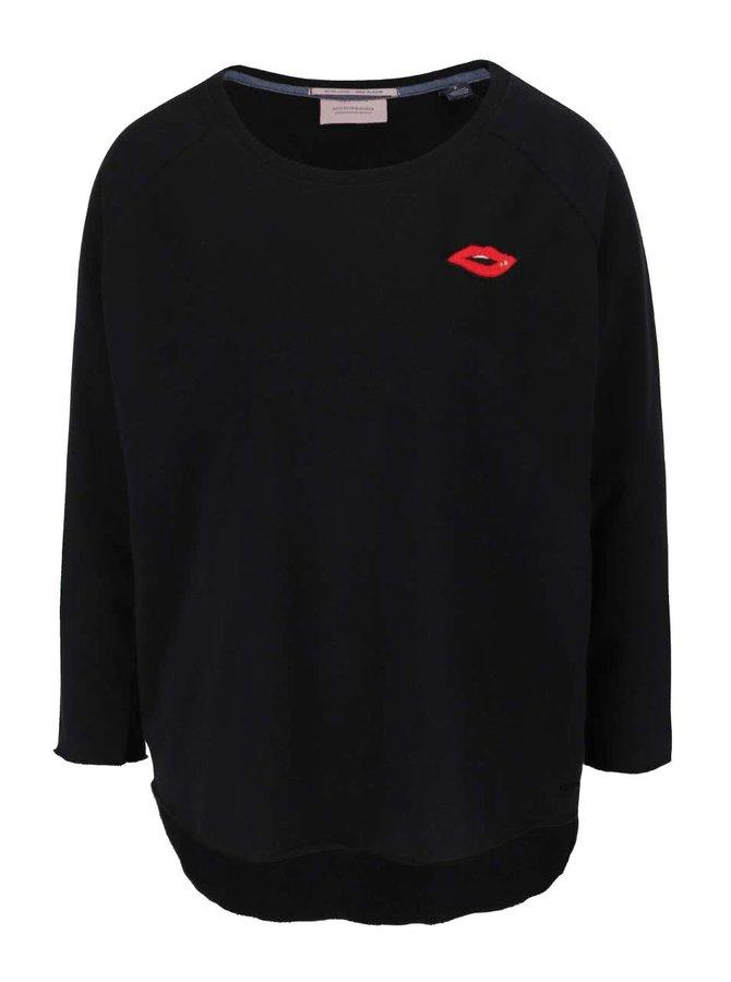 Bluză neagră Maison Scotch cu aplicație decorativă