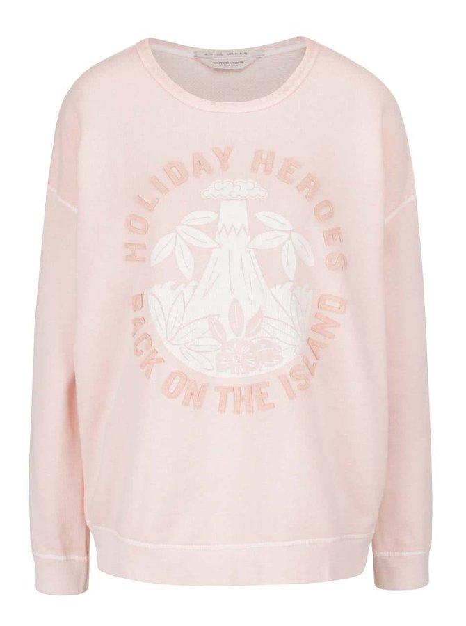 Bluză roz pal Maison Scotch cu imprimeu și aplicații