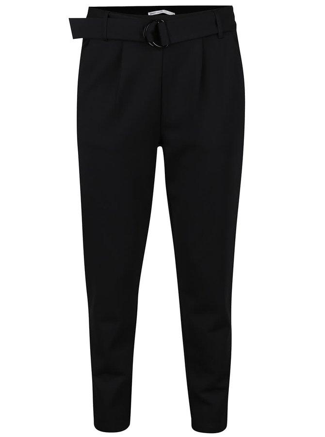 Pantaloni conici negri ONLY Poptrash cu accesoriu metalic