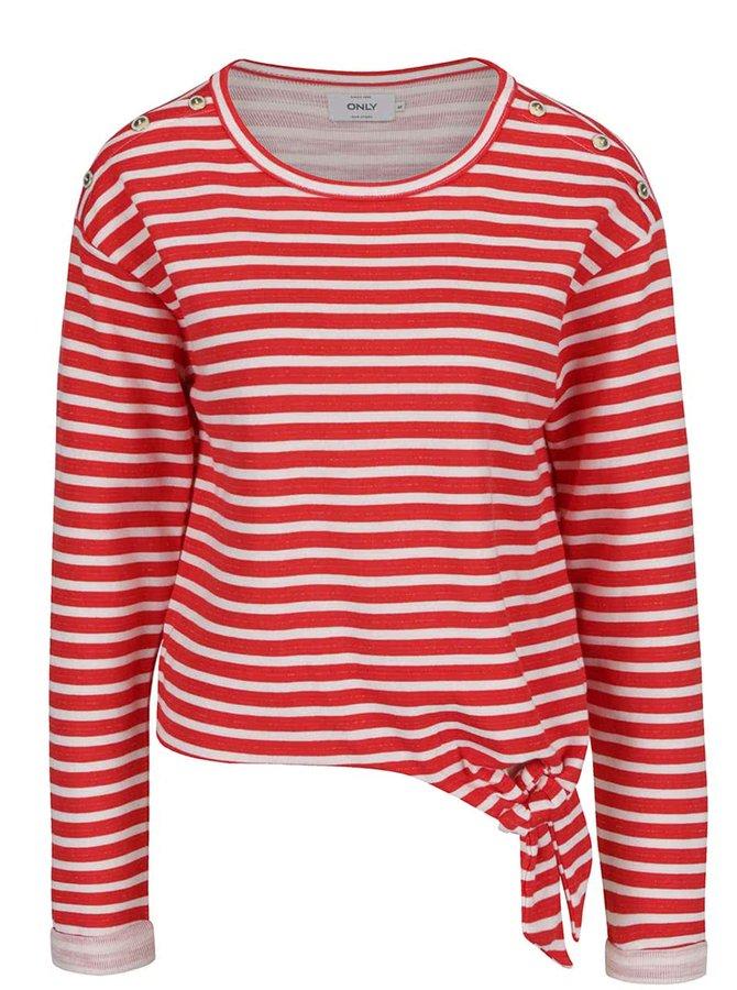 Bluză roșu cu crem ONLY Amy
