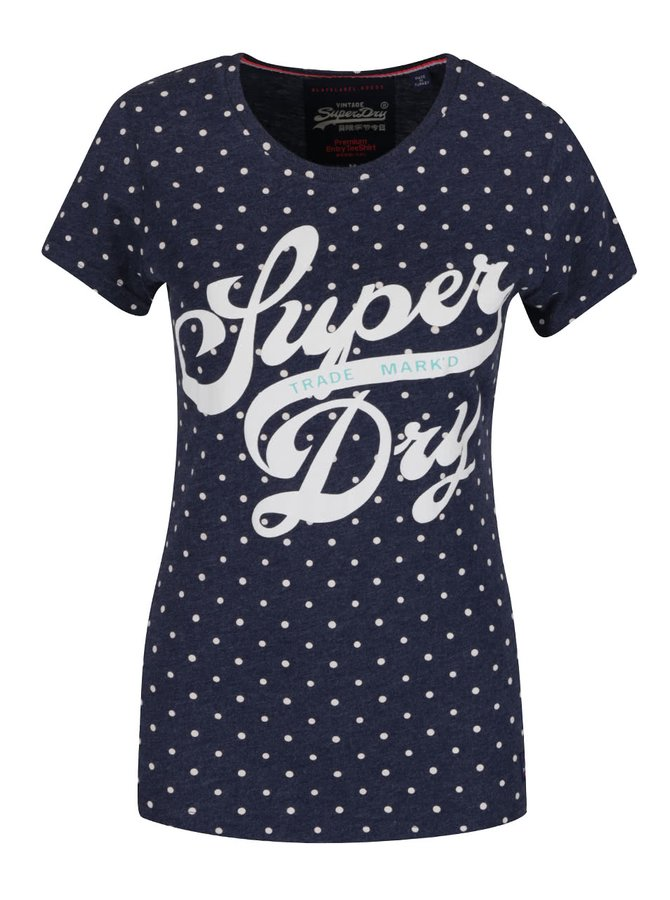 Tricou albastru melanj închis Superdry cu print și model cu buline