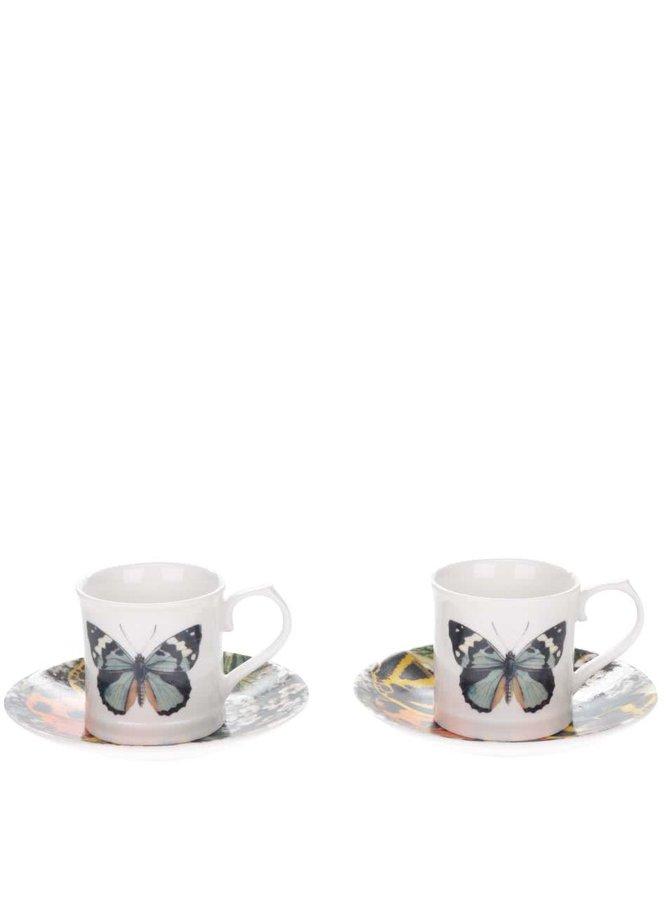Set 2 căni espresso cu farfurie Magpie cu imprimeu fluturi