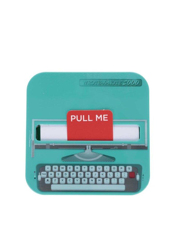 Tyrkysový poznámkový bloček ve tvaru psacího stroje Mustard