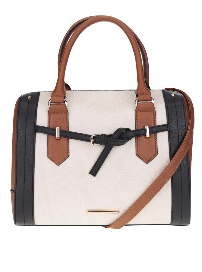Černo-krémová kabelka s detaily ve zlaté barvě Dorothy Perkins