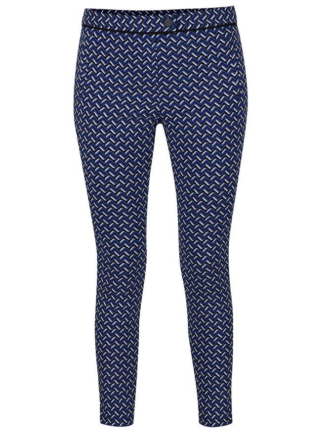 Pantaloni albaștri slim fit  cu print geometric Dorothy Perkins