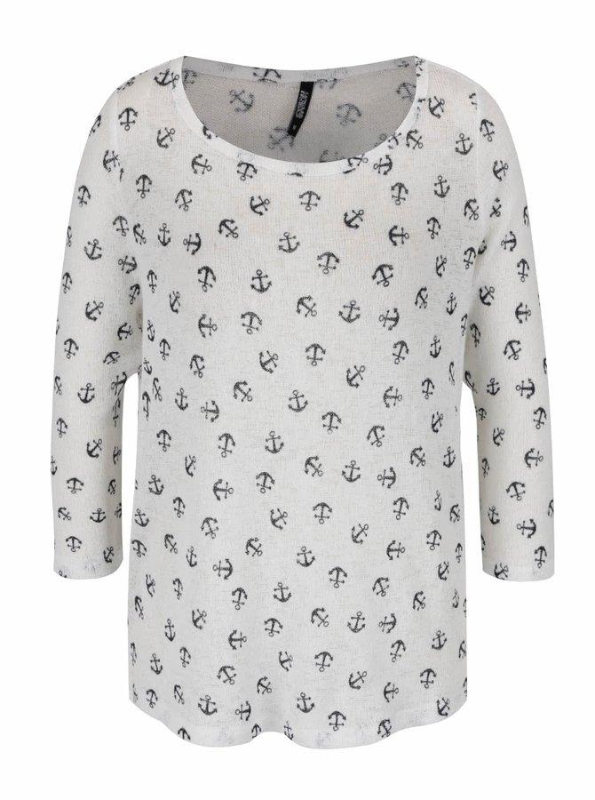 Krémové tričko s potiskem kotviček a 3/4 rukávem Haily's Diana