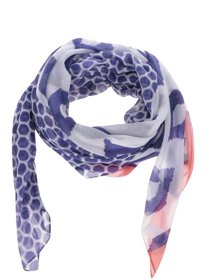 Krémovo-modrý šátek se vzorem Tom Joule Harmony