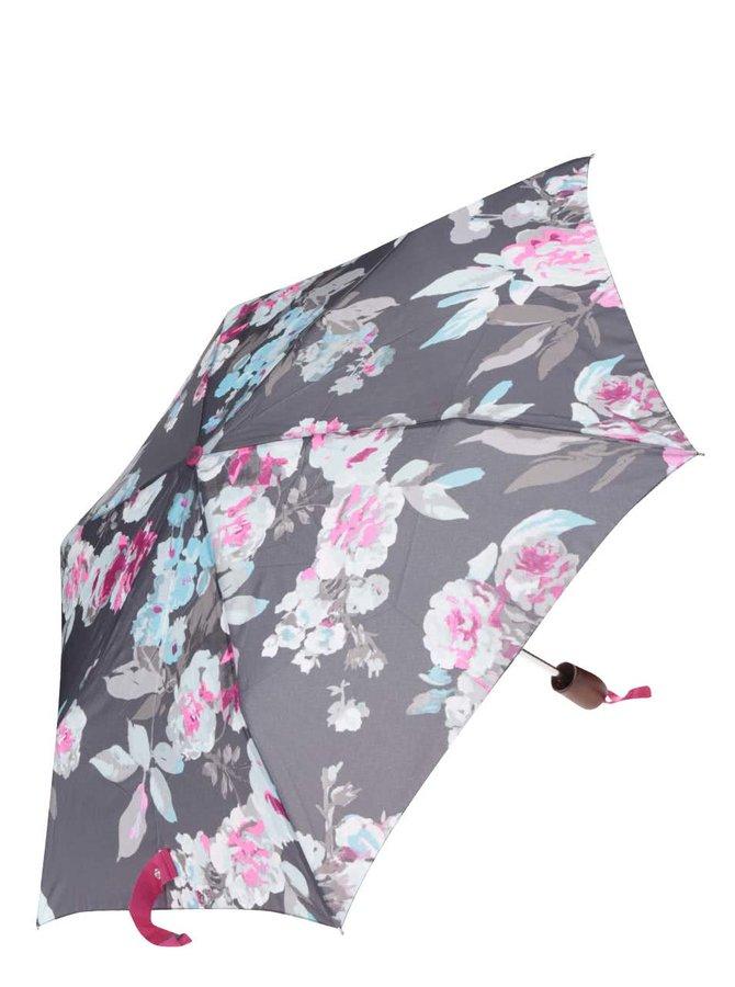 Šedý květovaný deštník Tom Joule Brolly