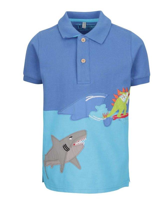 Modré klučičí polo triko s nášivkami Tom Joule