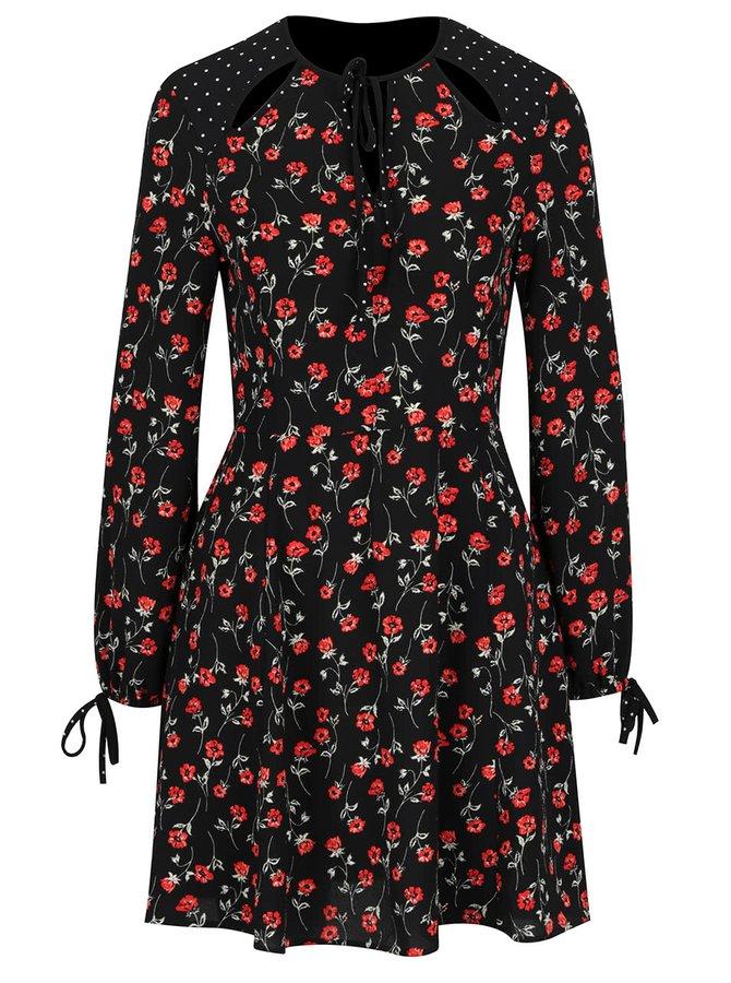 Černé šaty s motivem květin Miss Selfridge