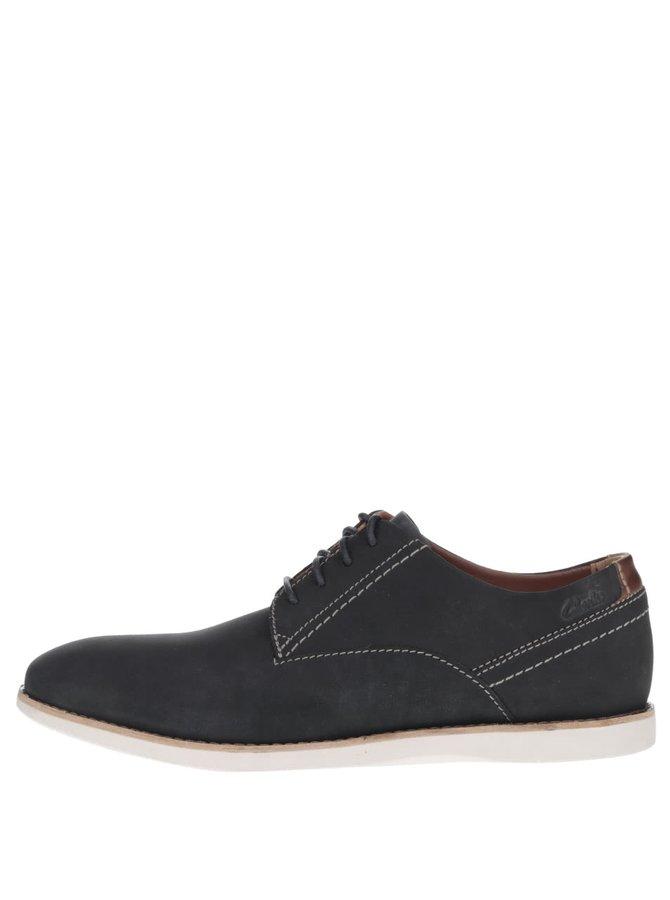 Pantofi albaștri Clarks Franson Plain din piele întoarsă