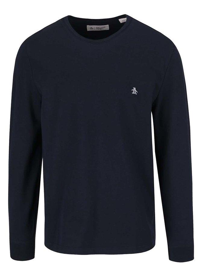 Bluză bleumarin Original Penguin Winston din bumbac cu logo