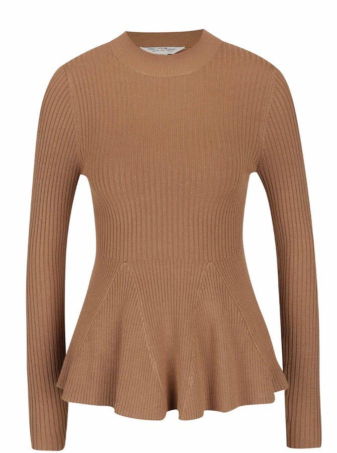 Hnědý žebrovaný lehký svetr Miss Selfridge
