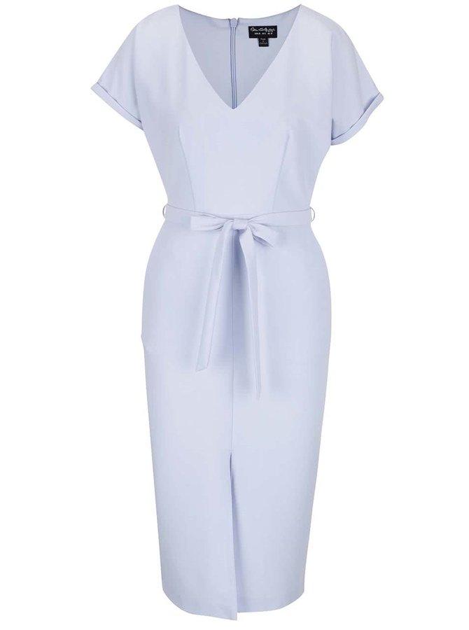 Světle modré pouzdrové šaty s véčkovým výstřihem Miss Selfridge