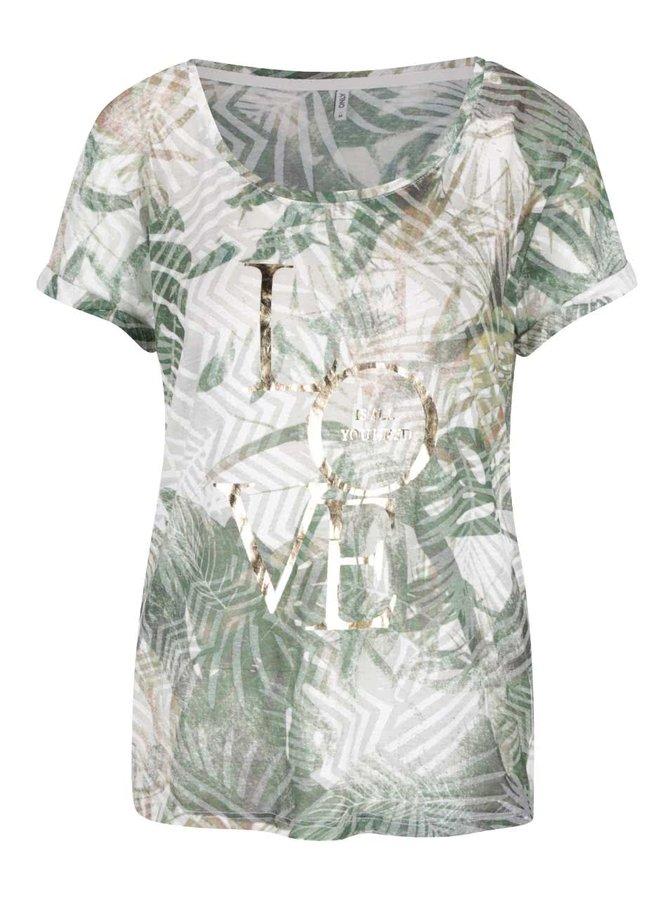 Krémovo-zelené vzorované tričko ONLY Dare
