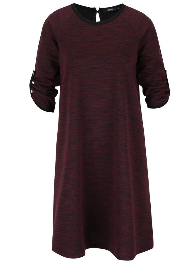 Vínové žíhané volné šaty s 3/4 rukávy Alchymi Anura