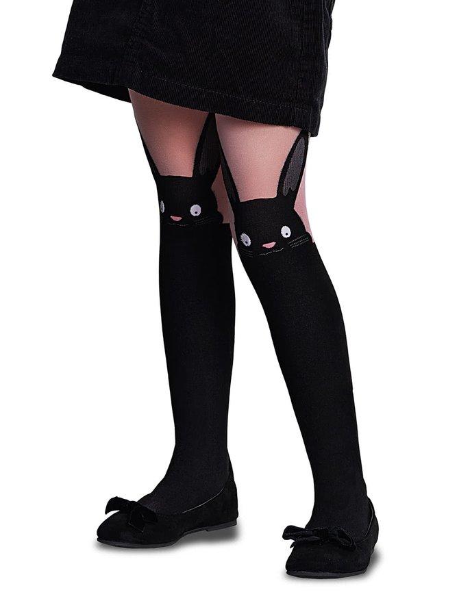 Růžovo-černé holčičí punčocháče s motivem králíčka Penti Bunny 30 DEN
