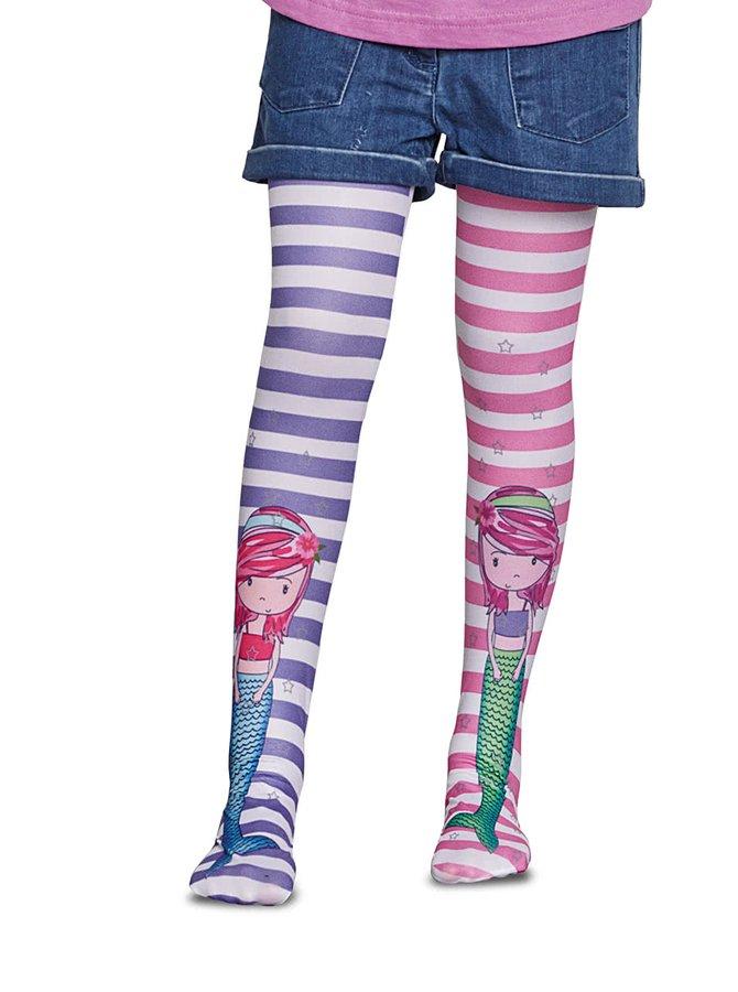 Fialovo-růžové holčičí pruhované punčocháče Penti Wilma 50 DEN