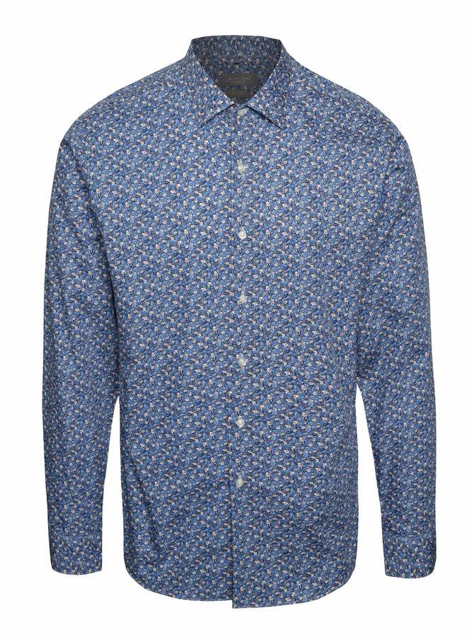 Modrá vzorovaná slim fit košile Seven Seas Leaves