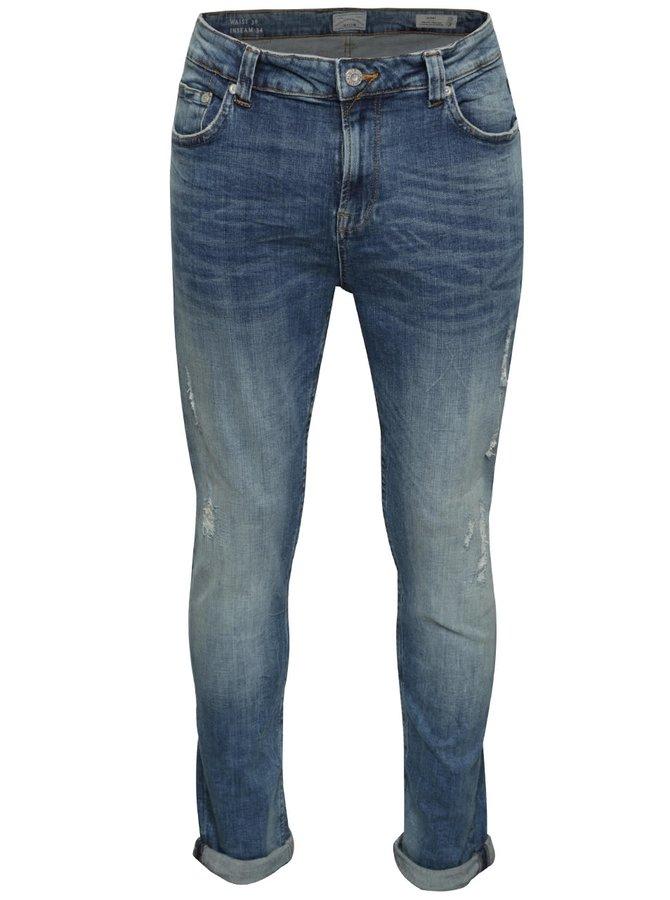 Modré skinny džíny s potrhaným efektem ONLY & SONS Warp
