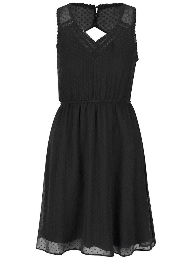 Černé šaty s průstřihem na zádech VERO MODA Bianca