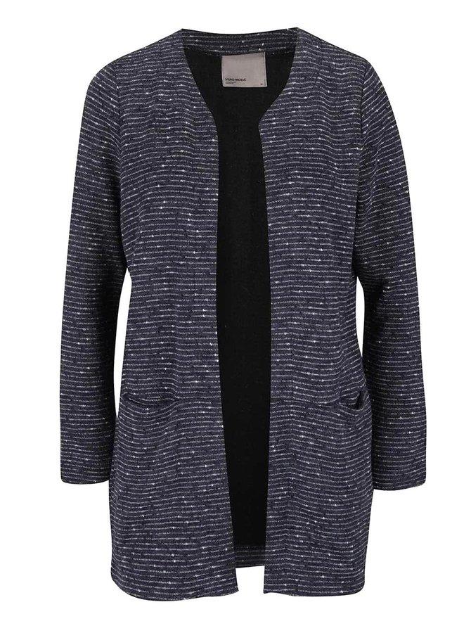 Tmavě modrý dlouhý pruhovaný kabát VERO MODA Struc-Anna
