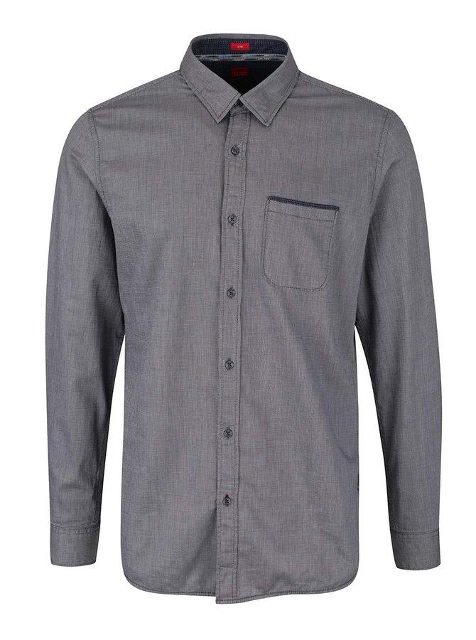 Šedo-modrá pánská slim fit košile s kapsou s.Oliver