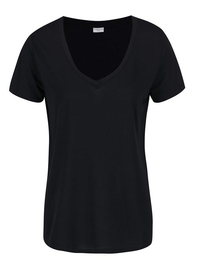 Černé tričko s véčkovým výstřihem Jacqueline de Yong Spirit
