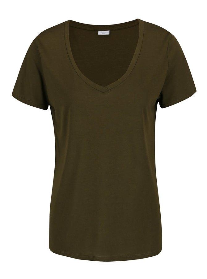 Khaki basic tričko Jacqueline de Yong Spirit