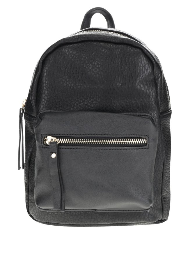 Černý koženkový batoh s detaily ve zlaté barvě Pieces Donny