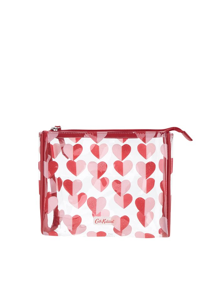 Transparentná menšia kozmetická taštička so srdiečkami Cath Kidston