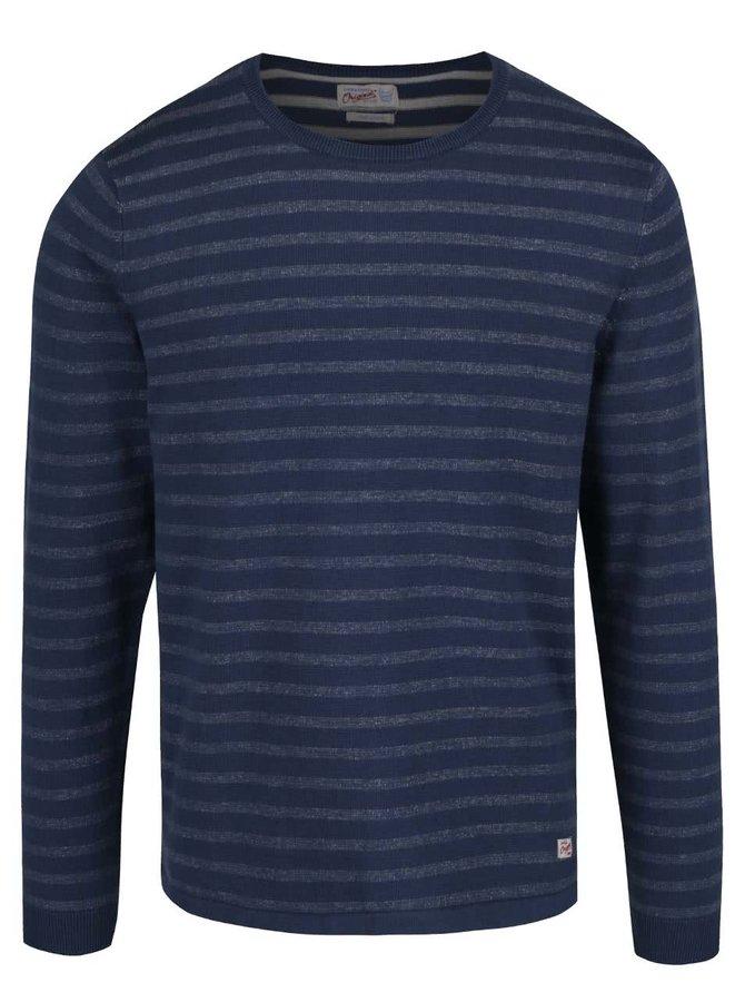 Modrý pruhovaný lehký svetr Jack & Jones Leo