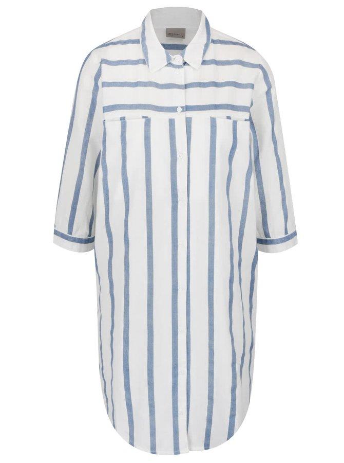 Cămașă lungă crem cu bleu VERO MODA Stripy