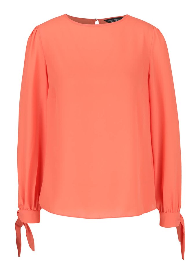 Bluză portocalie Dorothy Perkins cu panglici la mâneci