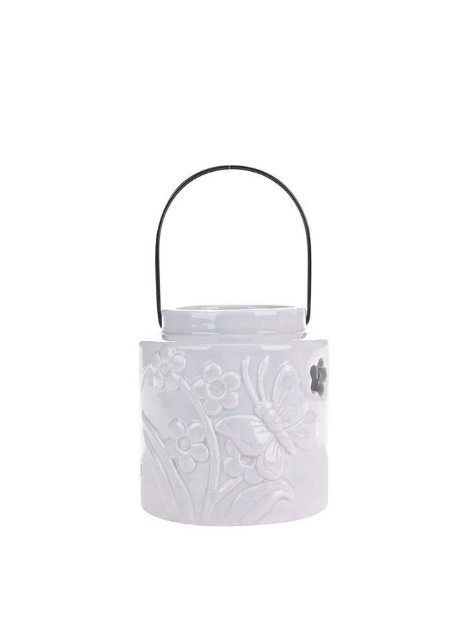 Světle šedý malý závěsný keramický svícen Dakls