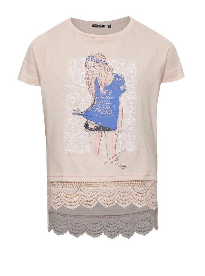 Růžové holčičí tričko s krajkovým lemem Blue Seven