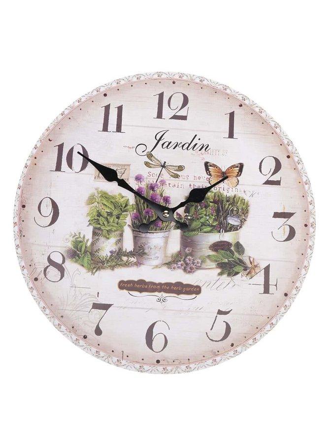 Hnědo-béžové dřevěné hodiny s motivem bylin Dakls