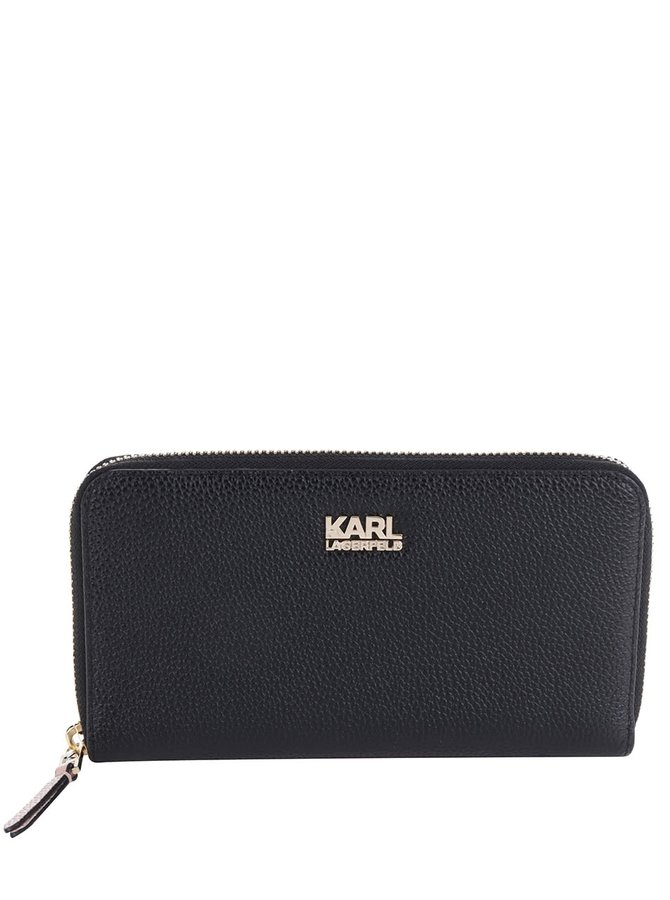 Černá kožená peněženka KARL LAGERFELD