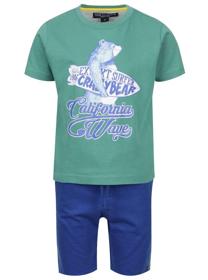 Set tricou & pantaloni scurți verde & albastru North Pole Kids din bumbac cu print