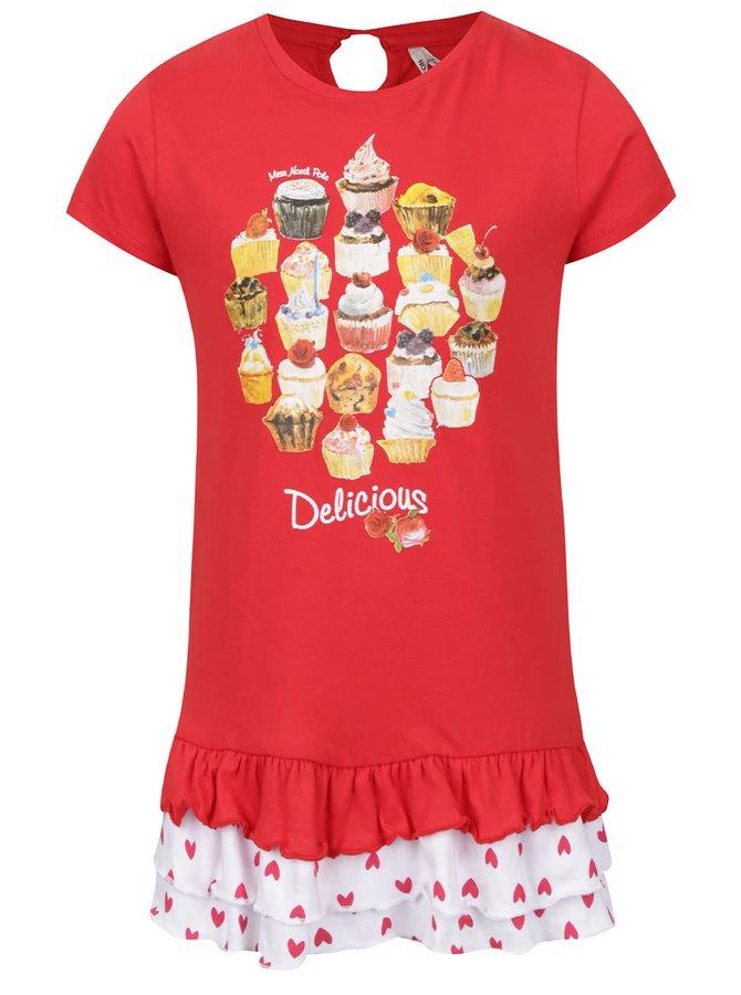 Červené holčičí šaty s volány North Pole Kids