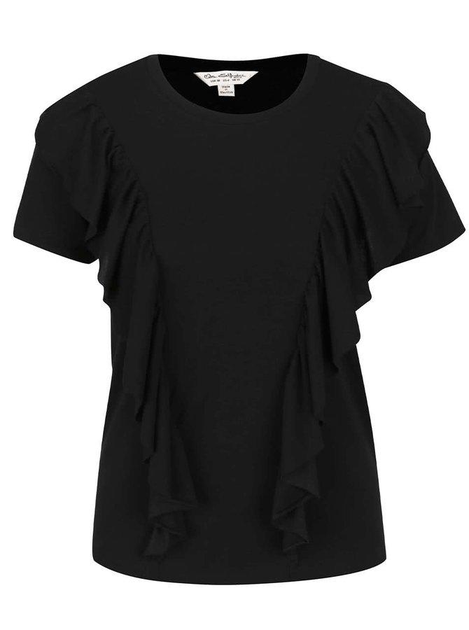 Černé tričko s volánky Miss Selfridge