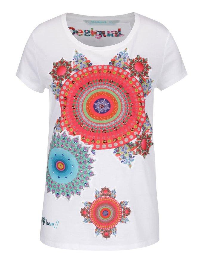 Bílé tričko s potiskem mandal Desigual Mary