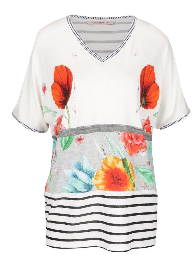 Tricou crem Desigual Maria Luisa cu model floral și croi lejer