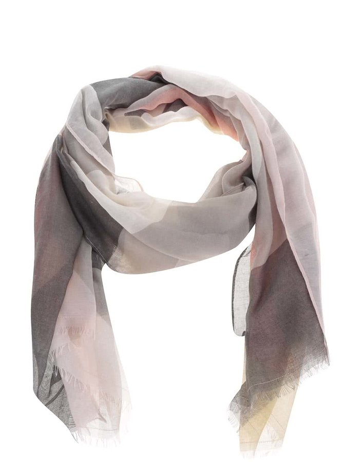 Růžovo-šedý vzorovaný šátek Pieces Marisa