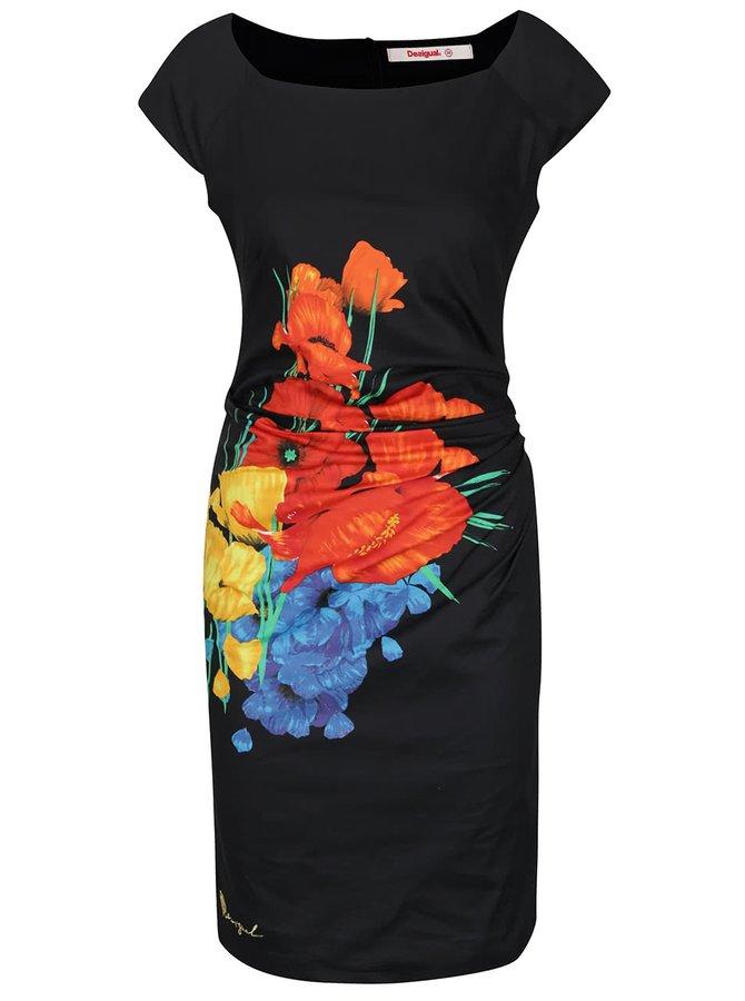 Černé květované šaty Desigual Vest