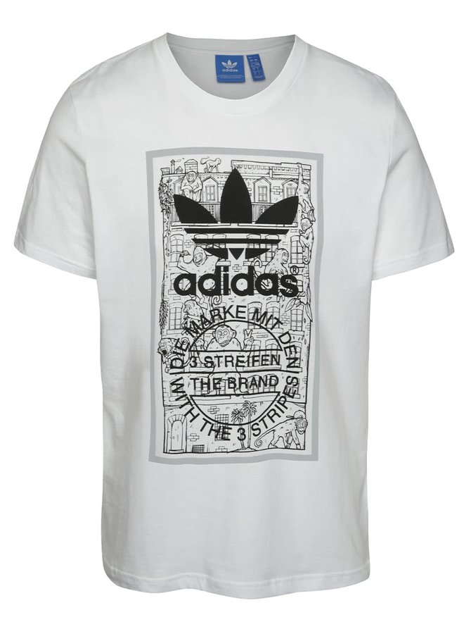 Bílé pánské triko adidas Originals Brick Tongue